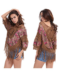 Trendy Gray Tassel Pendant Decorated Hand-woven Large Size Blouse