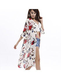 Fashion White Painting Flower Pattern Decorated Three Quarter Sleeve Long Beach Blouse