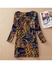 Casual Multi-color Labyinth Pattern Decorated Long Sleeve Large Size Slim Dress