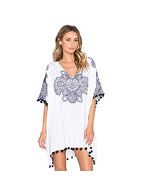 Sexy Multi-color Flower Pattern Decorated Batwing Sleeve Tassel Short Dress