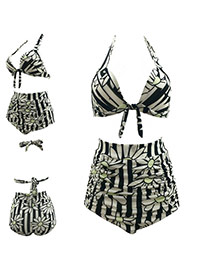 Sexy Black+white Sunflower Pattern Decorated High Waist Hang Neck Bikini