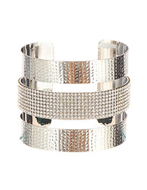 Fashion Silver Color Irregularity Pattern Decorated Multilayer Opening Bracelet
