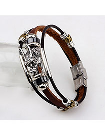 Vintage Coffee Dragon Shape Decorated Multilayer Simple Bracelet
