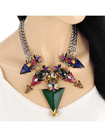 Elegant Multi-color Big Triangle Pendant Decorated Short Chain Necklace