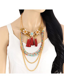 Exaggarted Red Multilayer Tassel Pendant Decorated Double Layer Necklace