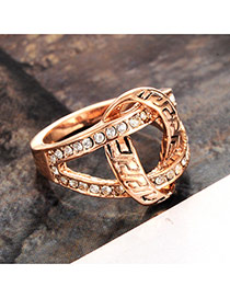 Elegant Gold Color Diamond Decorated Hollow Out Ring