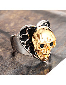 Vintage Silver Color+gold Color Skull Shape Decorated Simple Ring