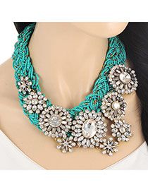 Fashion Green Oval Shape Diamond Decorated Hand-woven Collar Necklace