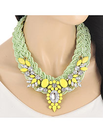 Fashion Light Green Oval Shape Diamond Decorated Hand-woven Collar Necklace