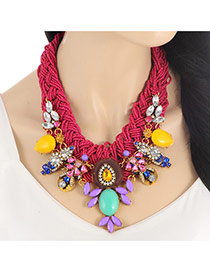 Fashion Claret-red Water Drop Shape Diamond Decorated Hand-woven Collar Necklace