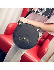 Cute Black Pure Color Decorated Cartoon Cat Shape Shoulder Bag