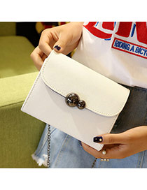Elegant White Ball Shape Button Decorated Pure Color Shoulder Bag