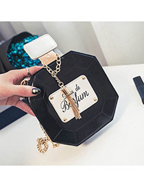 Cute Black Metal Tassel Decorated Perfume Bottles Shape Shoulder Bag