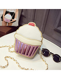 Cute Purple Color Matching Decorated Cake Shape Shoulder Bag