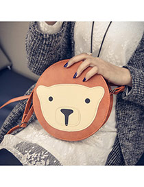 Cute Light Brown Bear Pattern Decorated Round Shape Shoulder Bag