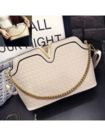 Sweet Beige Metal V Shape Decorated Weaving Pure Color Shoulder Bag