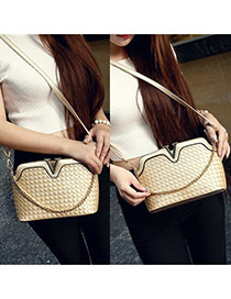 Sweet Gold Color Metal V Shape Decorated Weaving Pure Color Shoulder Bag