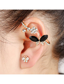 Elegant Gold Color Flower Decorated Simple Leaf Shape Earring
