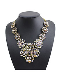 Exaggerated Anti-silver Oval Gemstone Flower Decorated Simple Collar Necklace