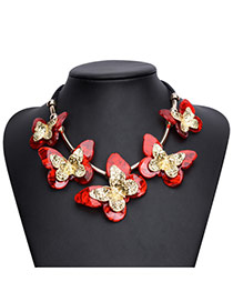 Exaggareted Red Five Butterfly Shape Decorated Simple Necklace