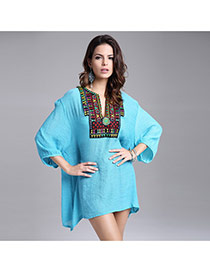 Casual Green Embroidery Flower Decorated Three Quarter Sleeve V Neckline Dress
