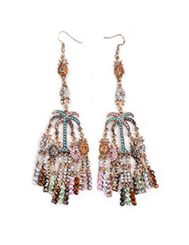 Vintage Multi-color Tassel Pendant Decorated Coconut Tree Shape Earring