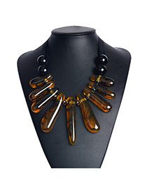Exaggerated Yellow Irregular Shape Gemstone Decorated Hand-woven Collar Necklace