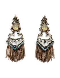 Exaggerated Gold Color Long Tassel Pendant Decorated V Shape Simple Earrings