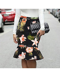 Sexy Multi-color Flower Pattern Decorated Package Hip Slim Fishtail Skirt