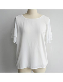 Casual White Pure Color Design Lotus Leaf Hem Flare Sleeve Loose Blouse