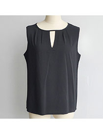 Fashion Black Pure Color Design Hollow Out Neckline Loose Chiffon Vest