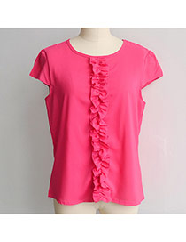 Fashion Plum Red Pleated Bowknot Decorated Pure Color Short Sleeve Chiffon Blouse