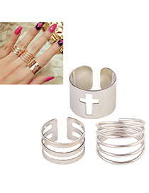 Exaggerated Silver Color Pure Color Decorated Multi-layer Opening Ring (3pcs)