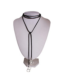 Vintage Silver Color Heart Pendant Decorated Multi-layer Simple Necklace