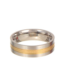 Fashion Gold Color Strip Pattern Decorated Color Matching Simple Ring