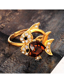 Lovely Coffee Diamond Decorated Fish Design Simple Ring