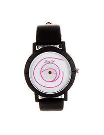 Elegant Pink Scrawl Pattern Decorated Pure Color Strap Simple Watch