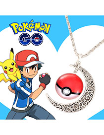 Fashion Red Pk Go Moon Shape Pendant Decorated Long Chain Necklace
