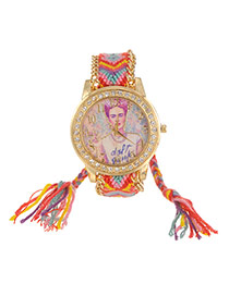 Lovely Red+yellow Girl Pattern Decorated Hand-woven Rope Simple Watch