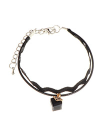 Vintage Black Square Pendant Decorated Double Layer bracelet