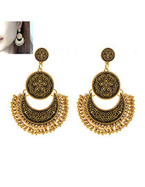Vintage Gold Color Moon Shape Decorated Tassel Earrings