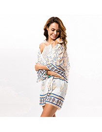 Fashion apricot Irregular Pattern Decorated Three Quarters Sleeve Simple Smock