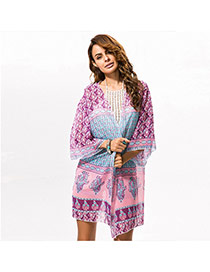Fashion pink Irregular Pattern Decorated Three Quarters Sleeve Simple Smock