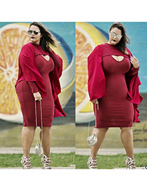 Sexy red Pure Color Design Long Sleeve Package Hip Large Size Long Dress