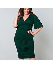Sexy  Pure Color Design V Neckline Three Quarters Sleeve Package Hip Large Size Dress