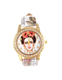 Vintage White Beautiful Girl Pattern Decorated Round Case Simple Watch