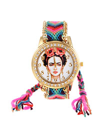 Vintage Green+plum Red Girl Pattern Decorated Hand-woven Strap Simple Watch