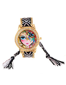 Fashion Black+white Girl Pattern Decorated Tassel Design Simple Watch