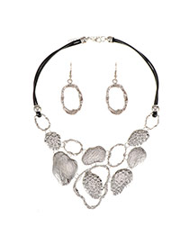 Personality Silver Color Hollow Out Design Short Chain Jewelry Sets