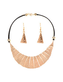 Vintage Gold Color Moon Shape Pendant Decorated Double Layer Jewelry Sets
